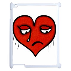 Sad Heart Apple iPad 2 Case (White) by dflcprints