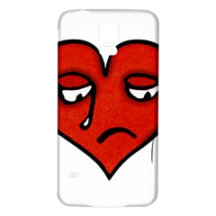 Sad Heart Samsung Galaxy S5 Back Case (white) by dflcprints