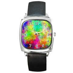 Plasma 24 Square Leather Watch by BestCustomGiftsForYou
