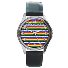 Horizontal Basic Colors Curly Stripes Round Leather Watch (silver Rim) by BestCustomGiftsForYou