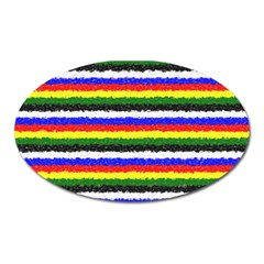 Horizontal Basic Colors Curly Stripes Magnet (oval) by BestCustomGiftsForYou