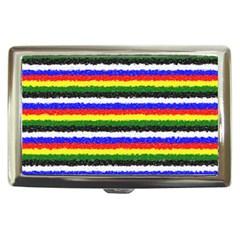 Horizontal Basic Colors Curly Stripes Cigarette Money Case by BestCustomGiftsForYou