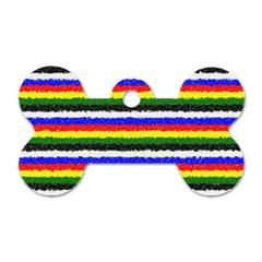 Horizontal Basic Colors Curly Stripes Dog Tag Bone (two Sided) by BestCustomGiftsForYou