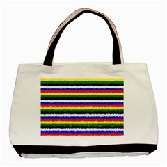 Horizontal Basic Colors Curly Stripes Twin Sided Black Tote Bag by BestCustomGiftsForYou
