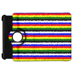 Horizontal Basic Colors Curly Stripes Kindle Fire Hd Flip 360 Case by BestCustomGiftsForYou