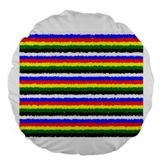 Horizontal Basic Colors Curly Stripes 18  Premium Round Cushion  by BestCustomGiftsForYou