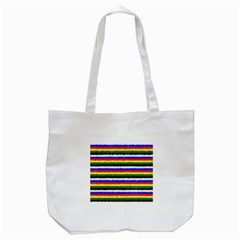 Horizontal Basic Colors Curly Stripes Tote Bag (white) by BestCustomGiftsForYou
