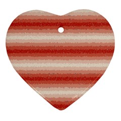 Horizontal Red Curly Stripes Heart Ornament by BestCustomGiftsForYou