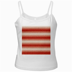Horizontal Red Curly Stripes White Spaghetti Tank by BestCustomGiftsForYou