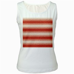 Horizontal Red Curly Stripes Women s Tank Top (White) by BestCustomGiftsForYou