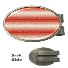 Horizontal Red Curly Stripes Money Clip (oval) by BestCustomGiftsForYou