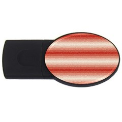 Horizontal Red Curly Stripes 2gb Usb Flash Drive (oval) by BestCustomGiftsForYou
