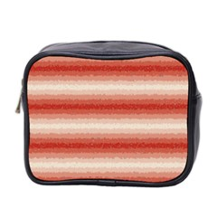 Horizontal Red Curly Stripes Mini Travel Toiletry Bag (Two Sides) by BestCustomGiftsForYou