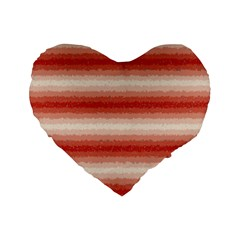 Horizontal Red Curly Stripes 16  Premium Heart Shape Cushion  by BestCustomGiftsForYou