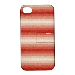 Horizontal Red Curly Stripes Apple Iphone 4/4s Hardshell Case With Stand by BestCustomGiftsForYou