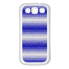 Horizontal Dark Blue Curly Stripes Samsung Galaxy S3 Back Case (white) by BestCustomGiftsForYou
