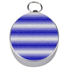 Horizontal Dark Blue Curly Stripes Silver Compass by BestCustomGiftsForYou