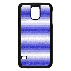 Horizontal Dark Blue Curly Stripes Samsung Galaxy S5 Case (Black) by BestCustomGiftsForYou