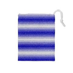 Horizontal Dark Blue Curly Stripes Drawstring Pouch (medium) by BestCustomGiftsForYou