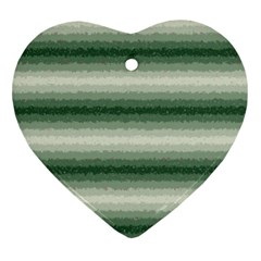 Horizontal Dark Green Curly Stripes Heart Ornament by BestCustomGiftsForYou