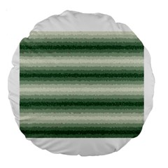 Horizontal Dark Green Curly Stripes 18  Premium Round Cushion  by BestCustomGiftsForYou