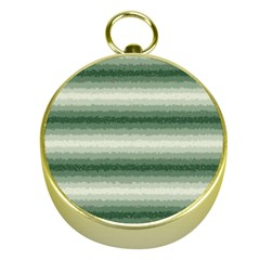 Horizontal Dark Green Curly Stripes Gold Compass by BestCustomGiftsForYou