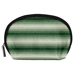 Horizontal Dark Green Curly Stripes Accessory Pouch (large) by BestCustomGiftsForYou