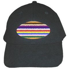Horizontal Vivid Colors Curly Stripes   1 Black Baseball Cap by BestCustomGiftsForYou