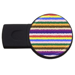 Horizontal Vivid Colors Curly Stripes   1 2gb Usb Flash Drive (round) by BestCustomGiftsForYou