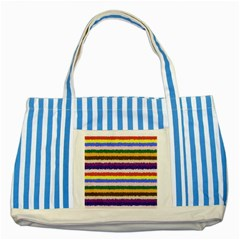 Horizontal Vivid Colors Curly Stripes   1 Blue Striped Tote Bag by BestCustomGiftsForYou