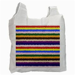 Horizontal Vivid Colors Curly Stripes   1 White Reusable Bag (one Side) by BestCustomGiftsForYou