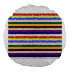 Horizontal Vivid Colors Curly Stripes   1 18  Premium Round Cushion  by BestCustomGiftsForYou