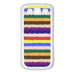 Horizontal Vivid Colors Curly Stripes   1 Samsung Galaxy S3 Back Case (white) by BestCustomGiftsForYou