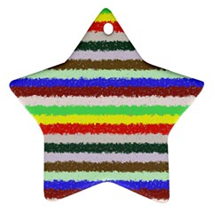 Horizontal Vivid Colors Curly Stripes   2 Star Ornament by BestCustomGiftsForYou