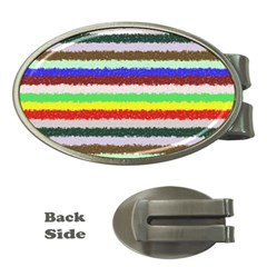 Horizontal Vivid Colors Curly Stripes - 2 Money Clip (Oval) by BestCustomGiftsForYou
