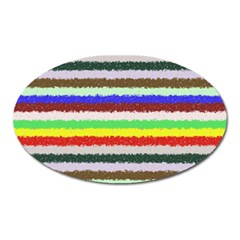 Horizontal Vivid Colors Curly Stripes   2 Magnet (oval) by BestCustomGiftsForYou