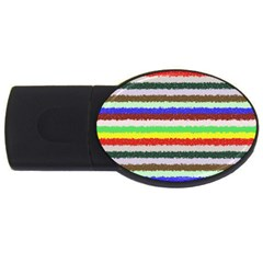 Horizontal Vivid Colors Curly Stripes   2 2gb Usb Flash Drive (oval) by BestCustomGiftsForYou