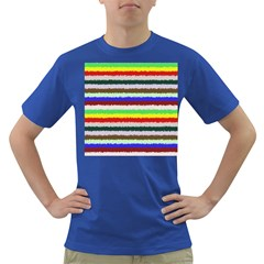 Horizontal Vivid Colors Curly Stripes   2 Men s T Shirt (colored) by BestCustomGiftsForYou