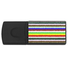 Horizontal Vivid Colors Curly Stripes   2 4gb Usb Flash Drive (rectangle) by BestCustomGiftsForYou