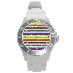 Horizontal Vivid Colors Curly Stripes   2 Plastic Sport Watch (large) by BestCustomGiftsForYou