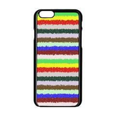 Horizontal Vivid Colors Curly Stripes   2 Apple Iphone 6 Black Enamel Case by BestCustomGiftsForYou