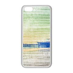 Santa Monica Pier Green Grey Canvas Apple Iphone 5c Seamless Case (white) by stineshop