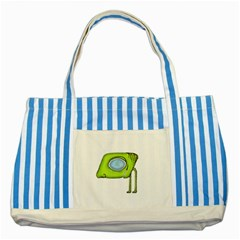 Funny Alien Monster Character Blue Striped Tote Bag by dflcprints