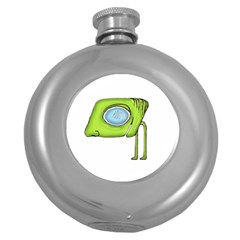 Funny Alien Monster Character Hip Flask (round) by dflcprints