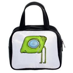 Funny Alien Monster Character Classic Handbag (two Sides) by dflcprints