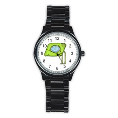 Funny Alien Monster Character Sport Metal Watch (black) by dflcprints