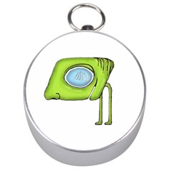 Funny Alien Monster Character Silver Compass by dflcprints