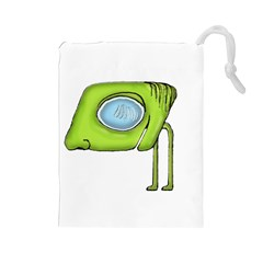 Funny Alien Monster Character Drawstring Pouch (large) by dflcprints