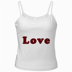 Love Typography Text Word White Spaghetti Tank by dflcprints