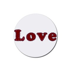 Love Typography Text Word Drink Coaster (Round) by dflcprints